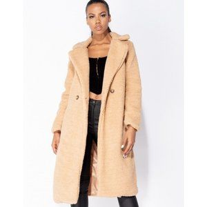 Double Breasted Long Borg Teddy Bear Fur Coat